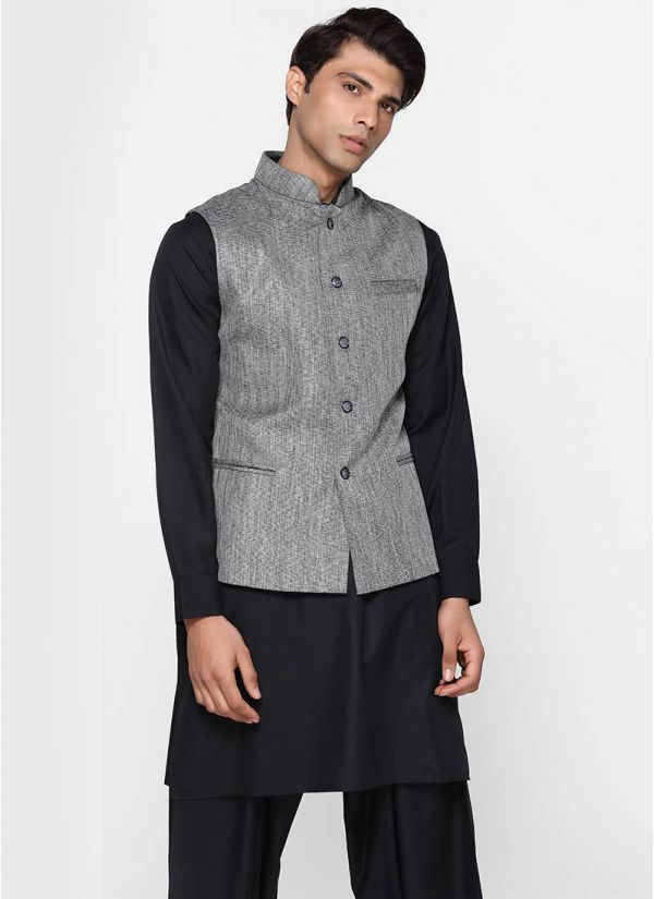 Grey Cotton Jute Waistcoat