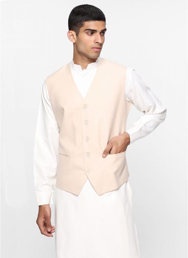 Sans Lapel Cream Waistcoat
