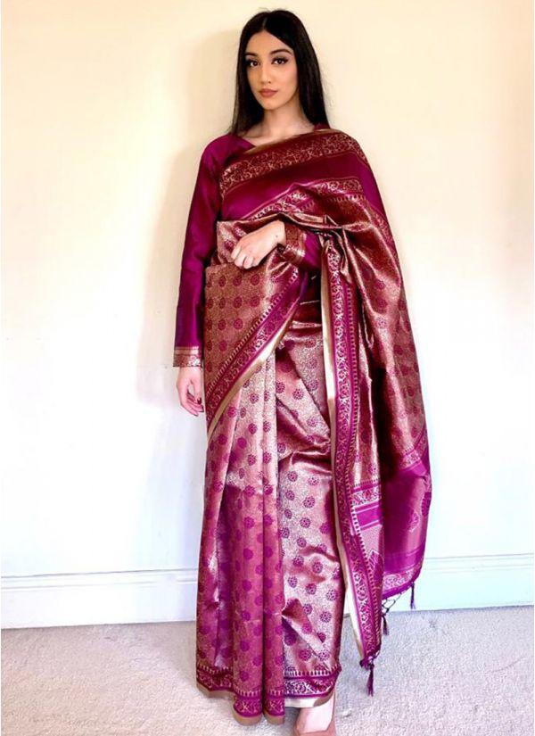 Plum Silk Jacquard Saree