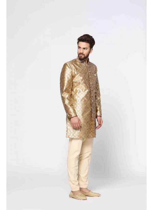 Traditional Gold Brocade Sherwani Set