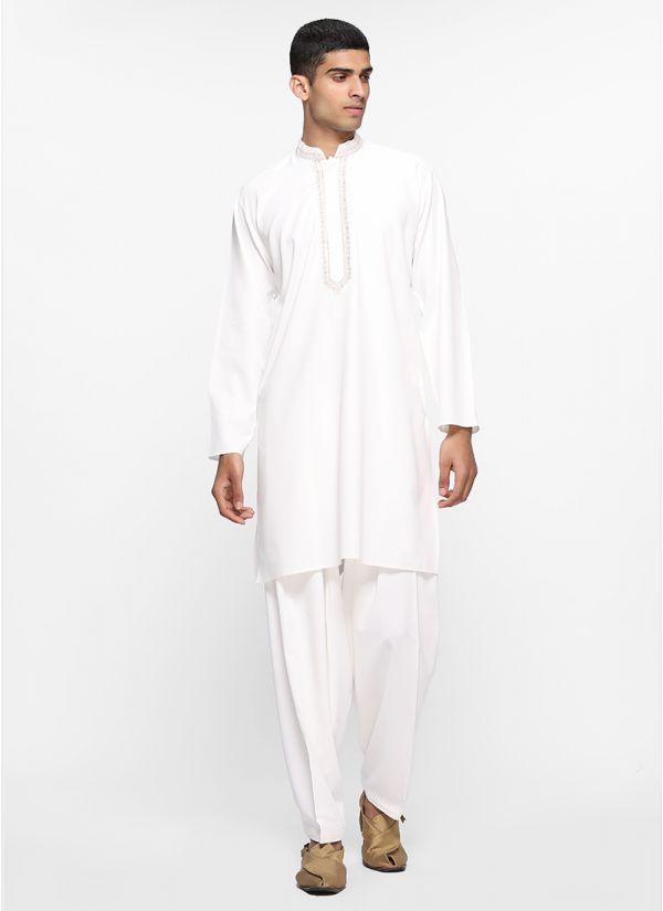 White Threaded Salwar Set