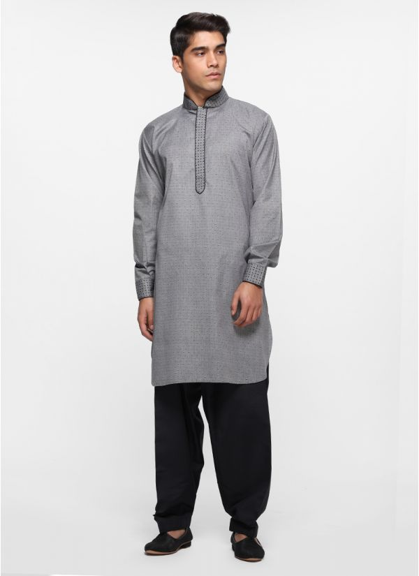 Charcoal Dobby Salwar Suit