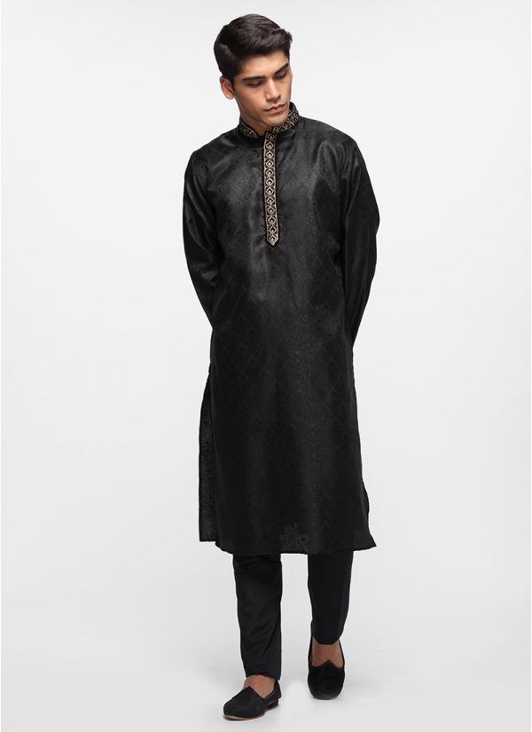 Black Silk Self Kurta