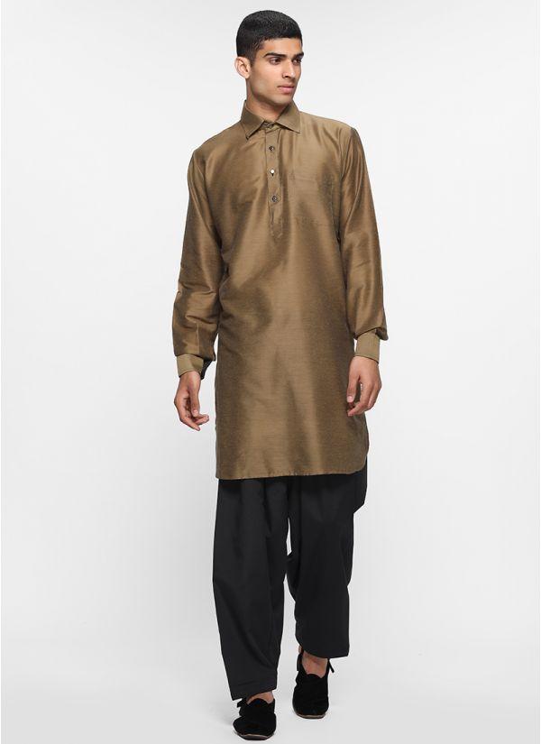 Olive Lapel Salwar Suit