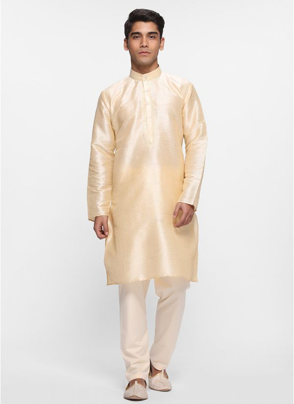Light Gold Jacquard Kurta