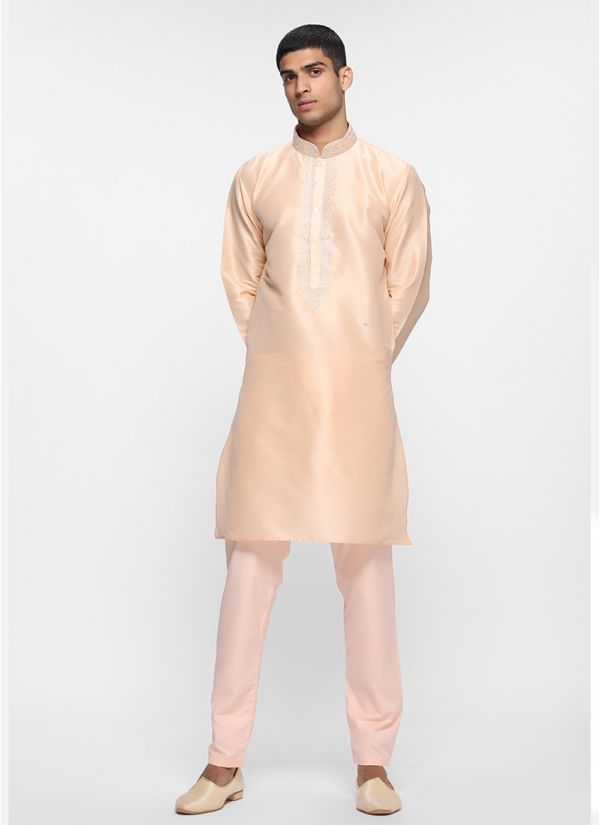 Peach Dupion Threaded Kurta