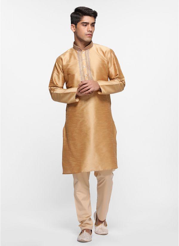 Gold Silk Tonal Kurta