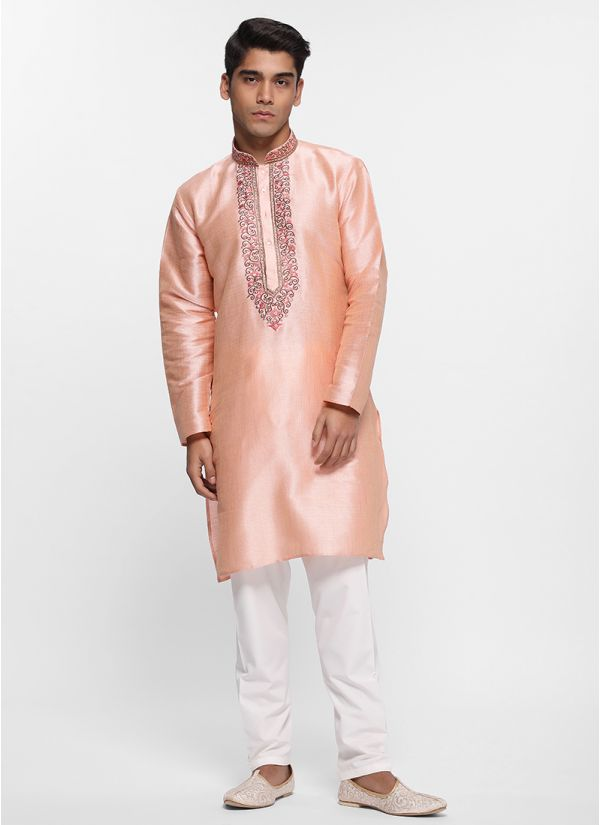 Peach Tonal Thread Kurta