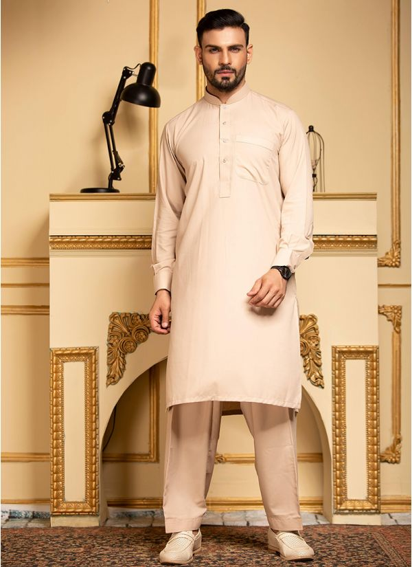 Beige Pure Cotton Kurta Salwar