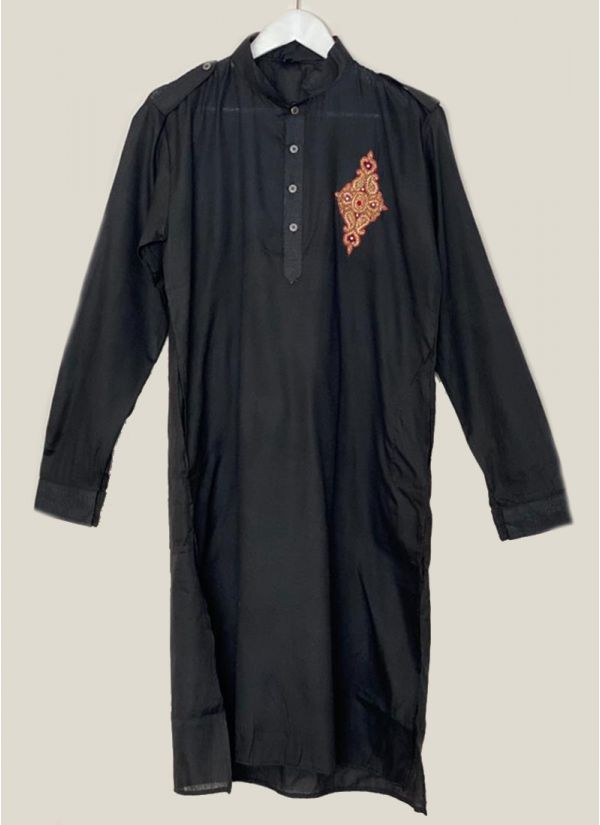 Patch Embroidered Black Linene Kurta Set
