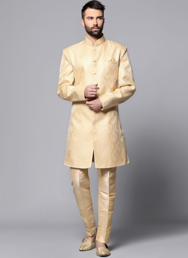 Gold Brocade Silk Jacket Suit