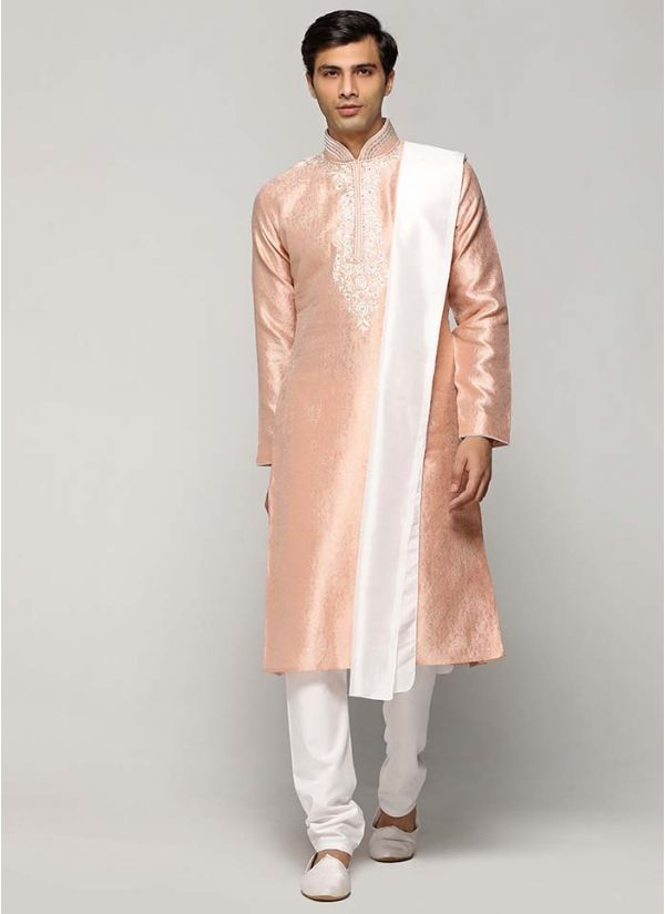 Peach & Ivory Embellished Kurta Set