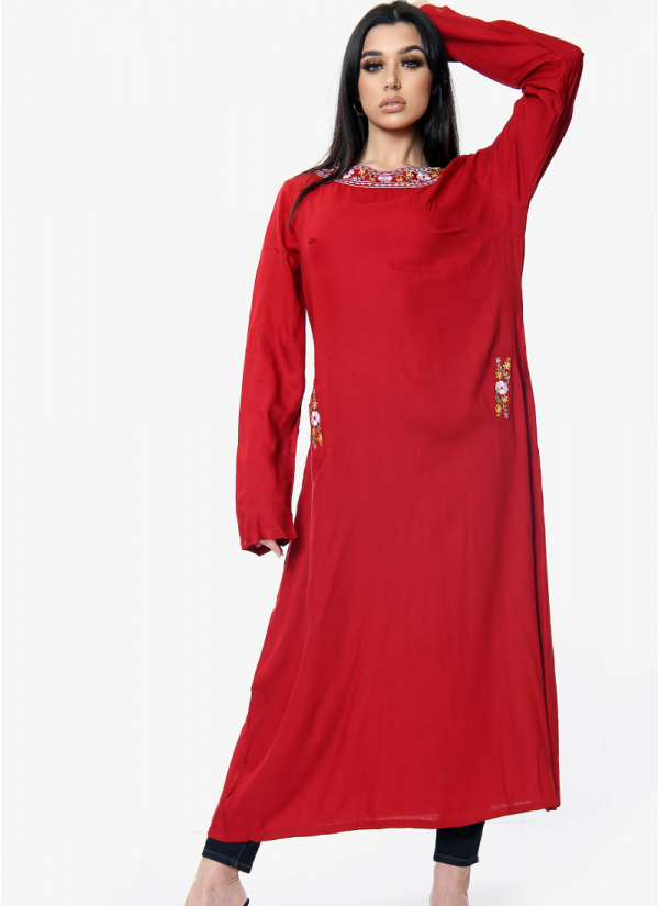 Embroidered Neckline Dress with Pockets