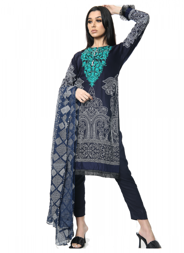 Navy Printed and Embroidered Lawn Suit