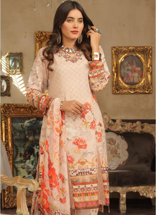 Cream Floral Printed Lawn Suit