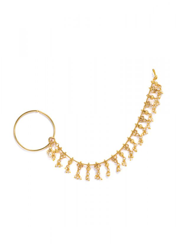 Gold Ghungroo Chain Nose Ring
