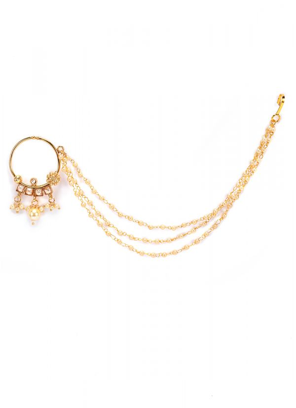 Triple Pearl Layer Kundan Nose Ring