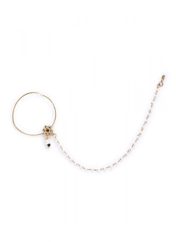 Pearl Chain Gold Nose Ring