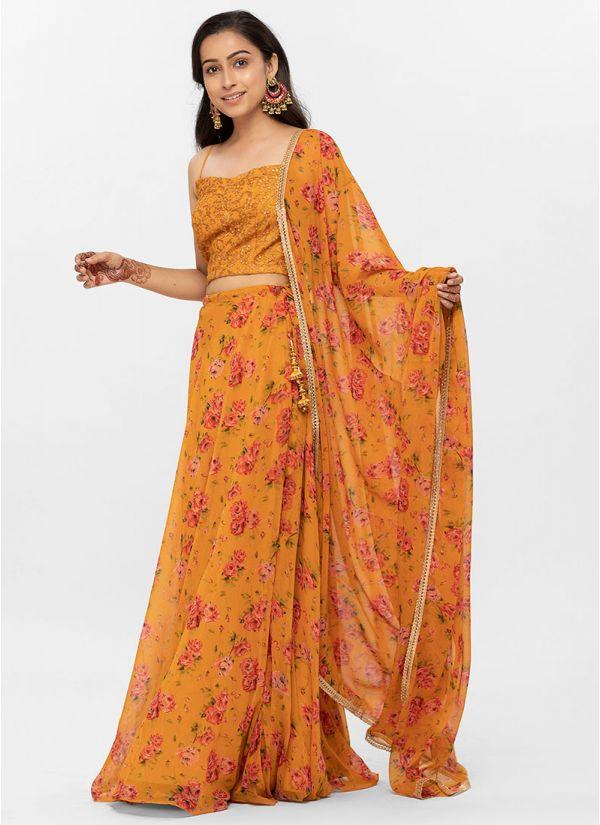 Mustard Resham & Sequins Blouse Printed Lehenga Set