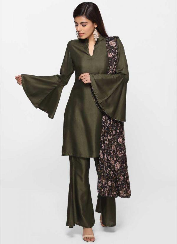 Khaki Rayon Print Dress