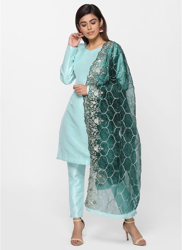 Petite Zari Embroidered Dupatta Suit Set