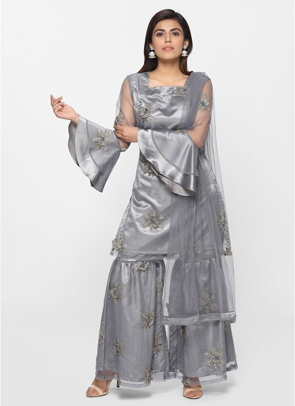 Petite Embroidered Gharara Set