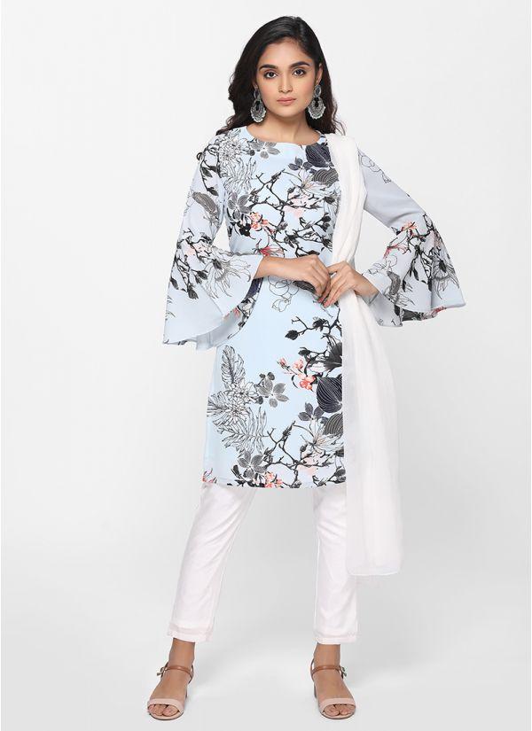 Petite Breezy Floral Print Suit