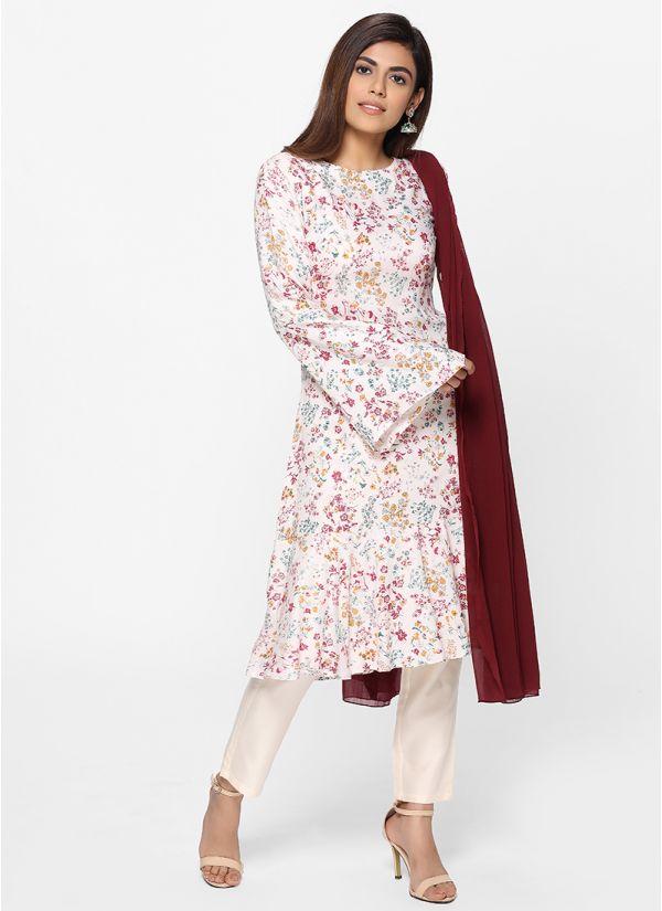Petite Floral Print Frill Suit