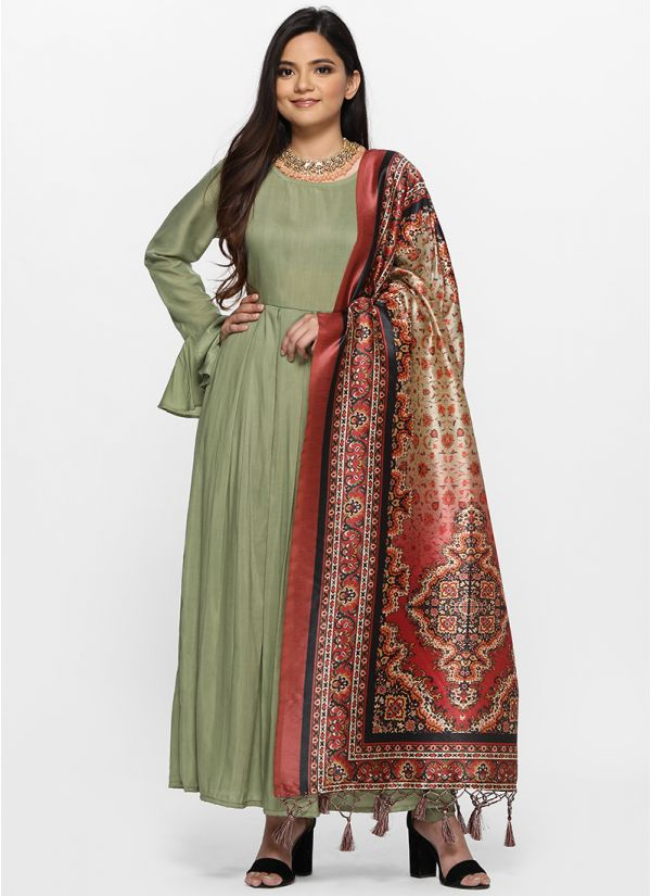Damask Digital Print Dupatta Suit Set