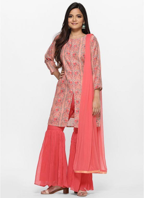 Floral Border Print Gharara Suit