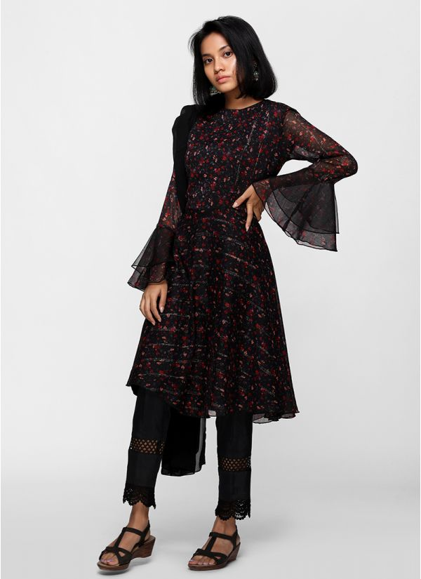 Black ditsy floral print flow dress set