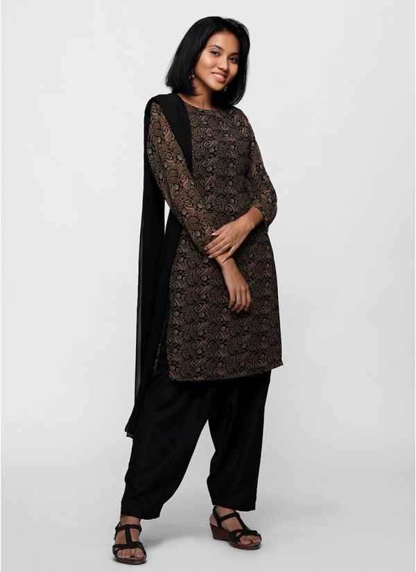 Black Paisley Print Salwar Suit