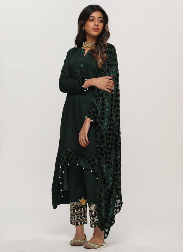 Petite Elegant Emerald Pakistani Palachi Suit