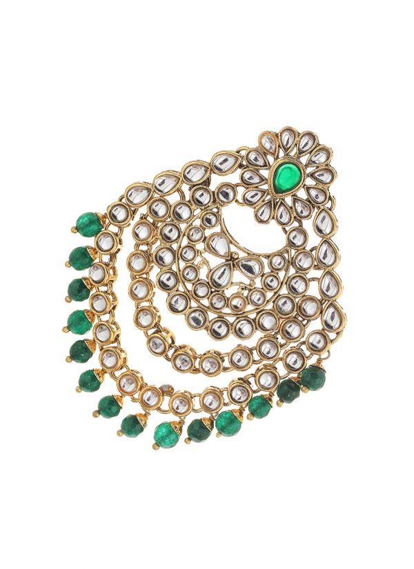 Green Pearl Kundan Passa