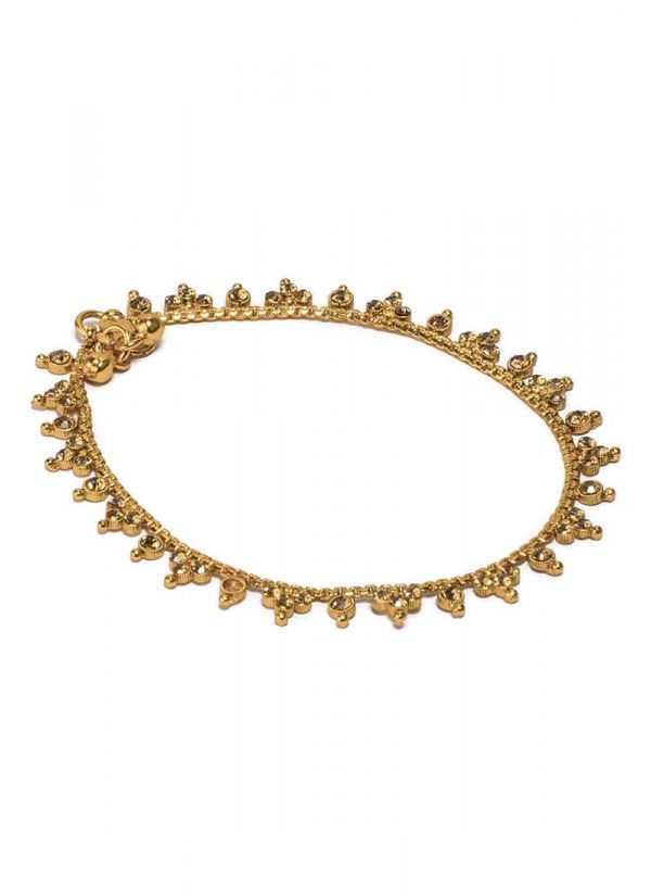 Antique Gold Payal with stone Detailing