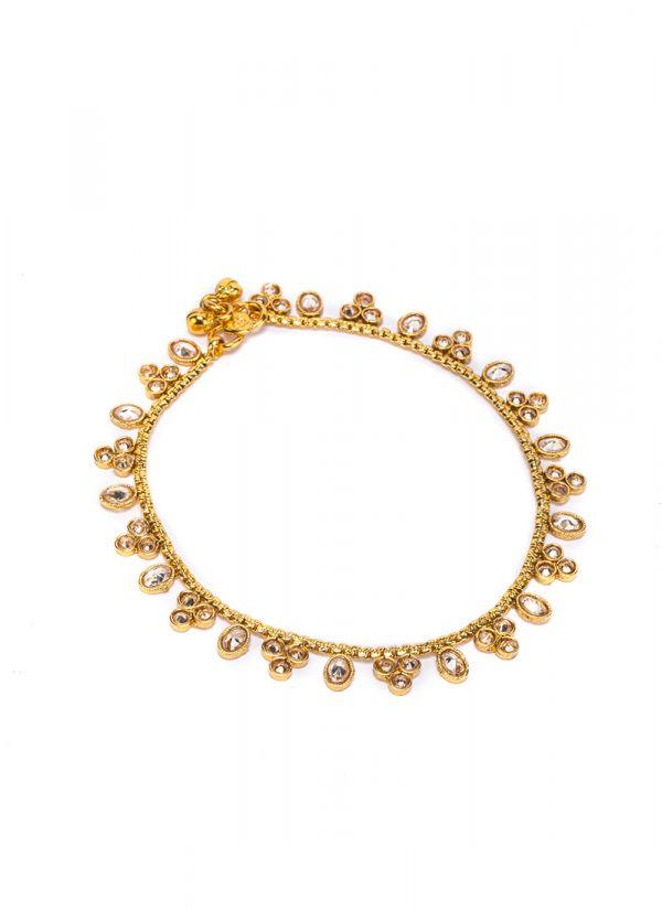 Gold Kundan Anklets