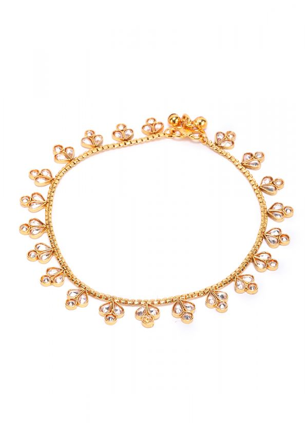 Gold And Kundan Anklets
