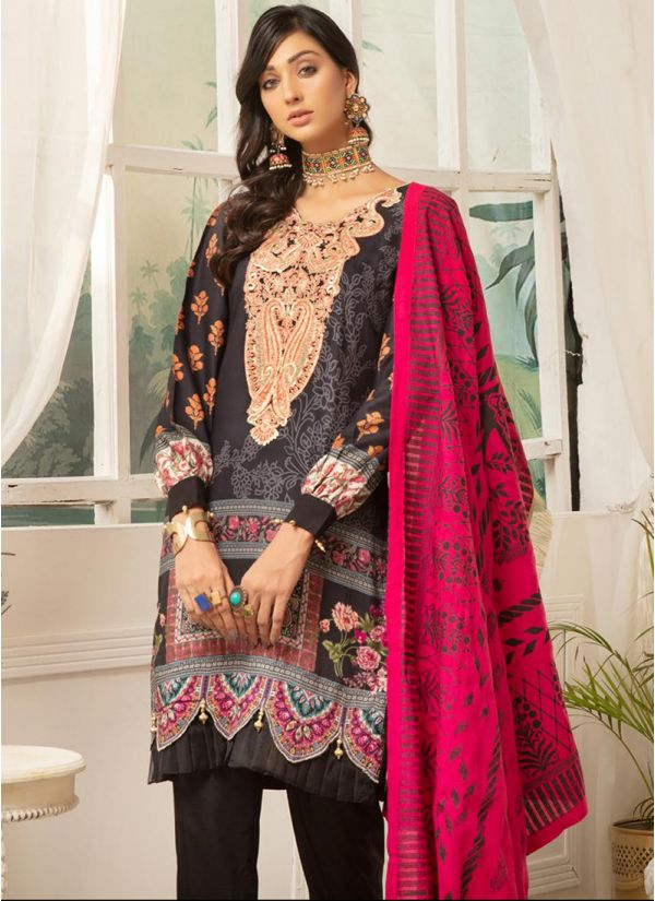 Black Embroidered Linen Pakistani Suit