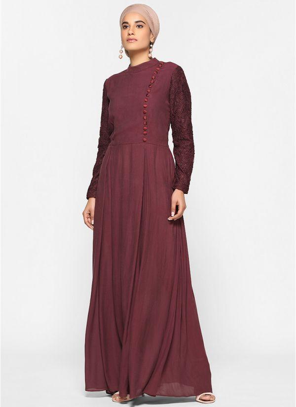 Deep Wine Lace Abaya