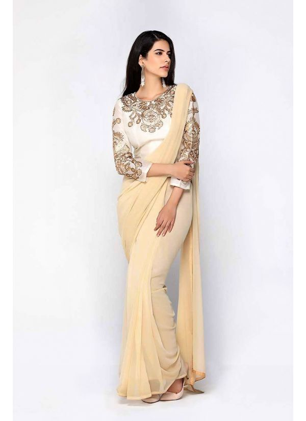 Beige & Ivory Embellished Blouse Saree