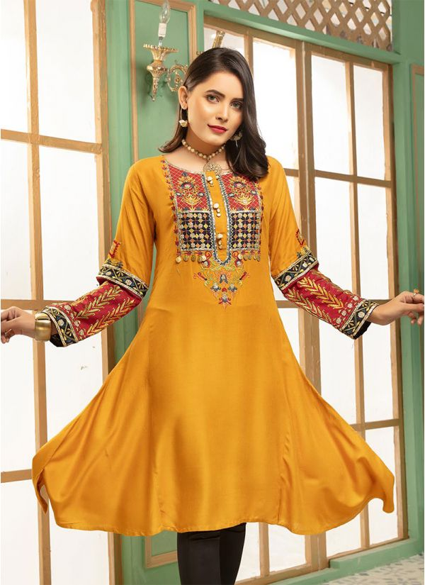 Mustard A-Line Embroidered Yoke Tunic