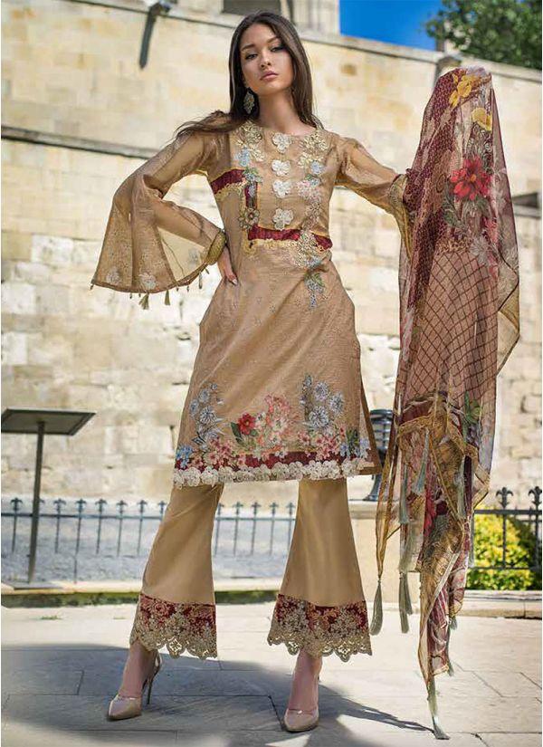 Beige Embroidered Pakistani Suit