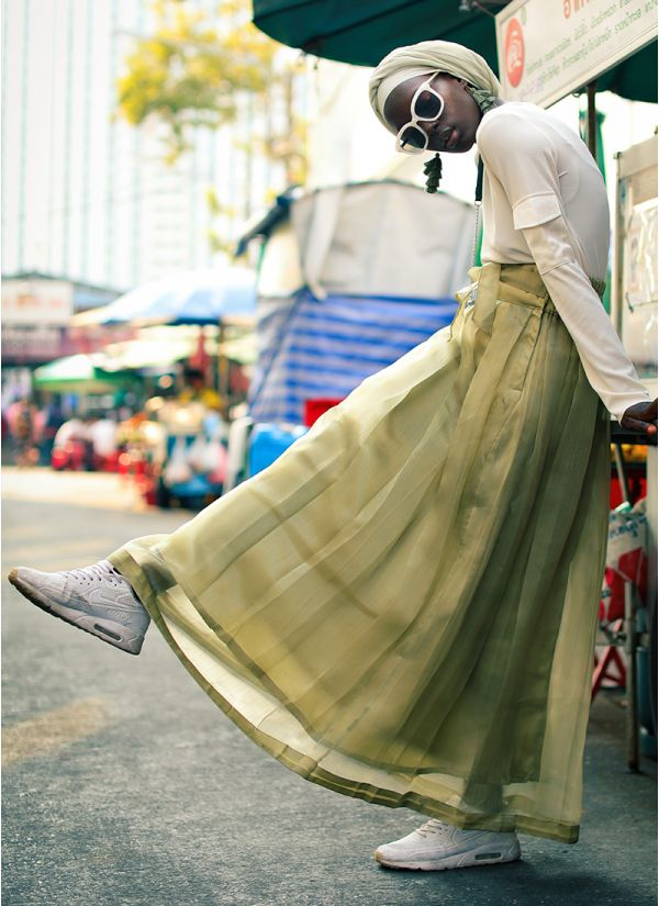 Organze Pleated Olive Skirt