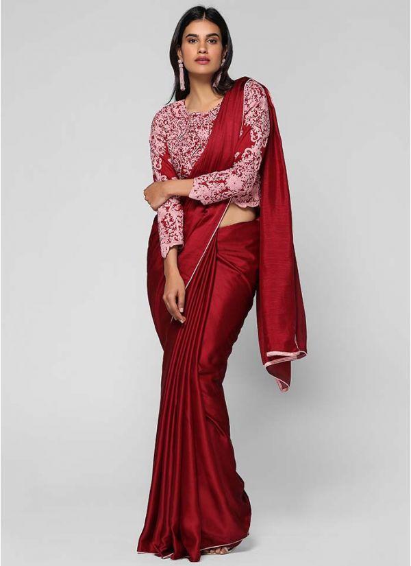 Satin Intricate Embroidered Saree