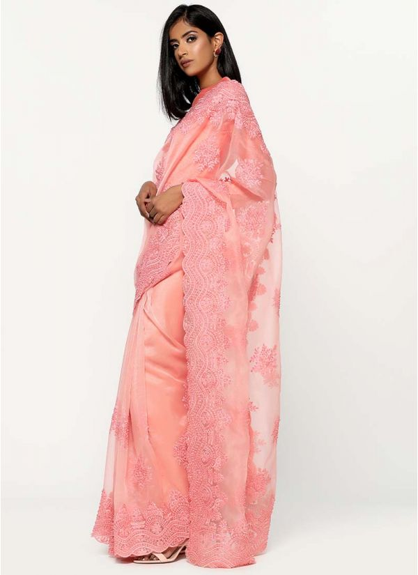 Organza Pearl Embellished Saree