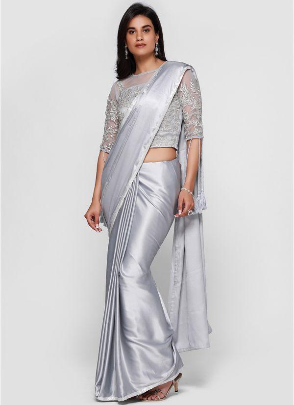Satin Silver Embellished Tassel Saree