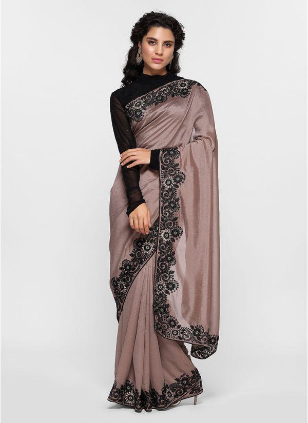 Pretty Resham Embroidered Border Saree