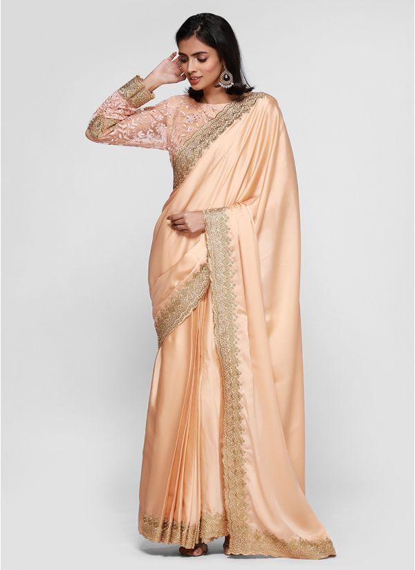 Nude Satin Gold Border Saree
