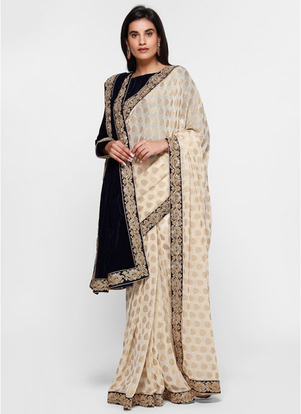 Regal Jacquard Velvet Dupatta Saree