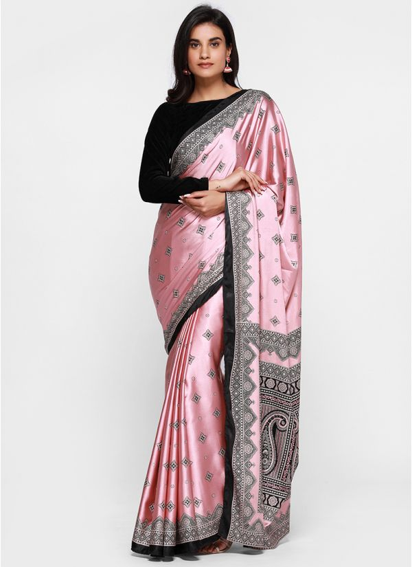 Printed Velvet Blouse Saree